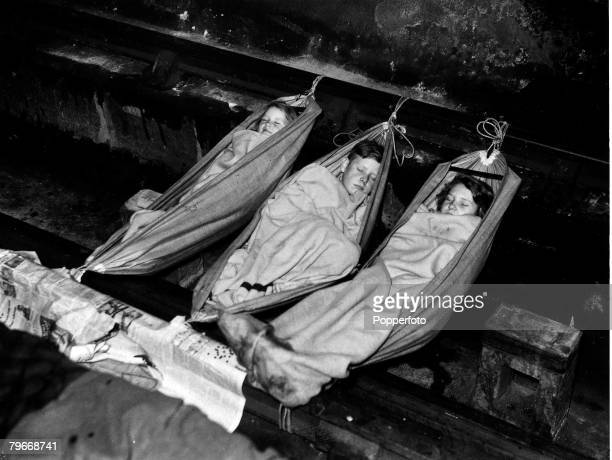 Volume 2 Page 62 Pic 7 Three children sleeping in a London shelter during The Blitz in World War Two October 1940