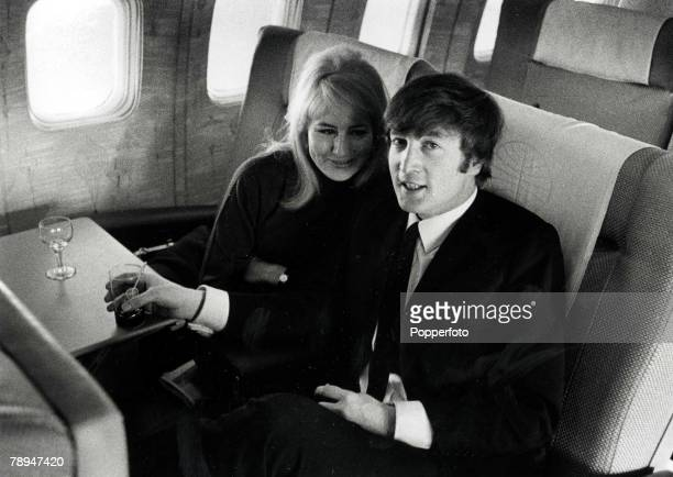 Volume 2 Page 84 Picture 6 The Beatles February 7th 1964 John Lennon with his wife Cynthia flying to New York