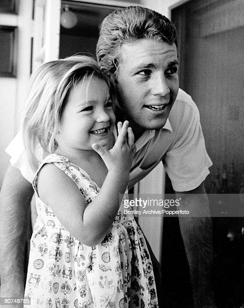 Volume 2 Page 98 Picture 7 June 1967 US actress Tatum O'Neal as a young girl with her father US actor Ryan O'Neal