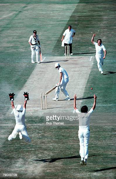 12 Picture number 7 Sport Cricket Edgbaston Birmingham 4th Test England v Australia General view showing England's Ian Botham as he bowls Terry...