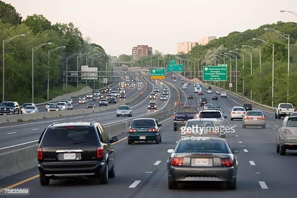 Volume of traffic travelling on freeway lanes outskirts of Washington DC USA