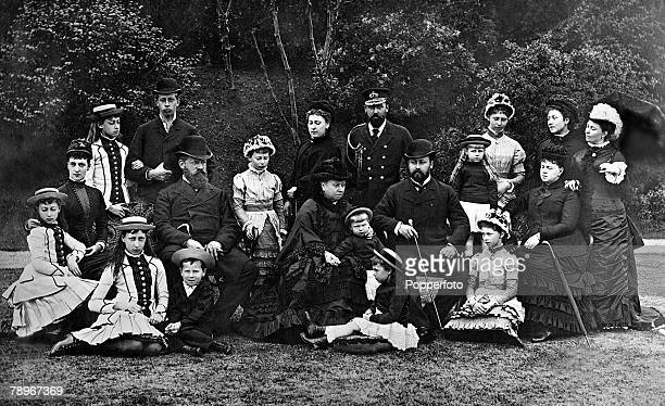Queen Victoria and her family posed outdoors Maud of Wales Alexandra of Wales Victoria of Wales Louise Henry of Prussia Alfred of Edinburgh Emperor...