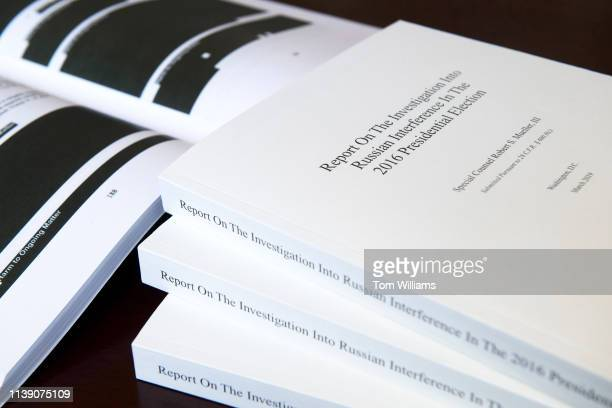 Volumes of special counsel Robert Mueller's report on Russian interference in the 2016 election is photographed in the Capitol on Wednesday April 24...