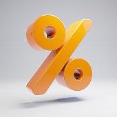 Volumetric glossy hot orange Percent icon isolated on white background.