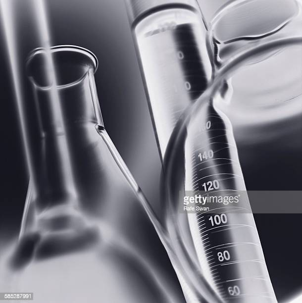 Volumetric laboratory glassware used in a chemistry lab, close-up