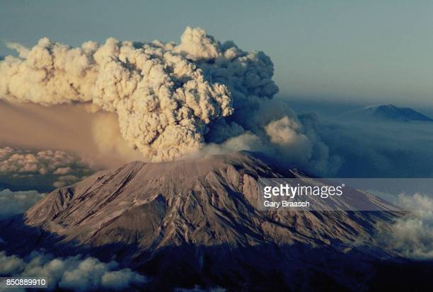 Voluminous plumes of volcanic ash and rock blast from the side of Mount Saint Helens on July 22 in southwestern Washington
