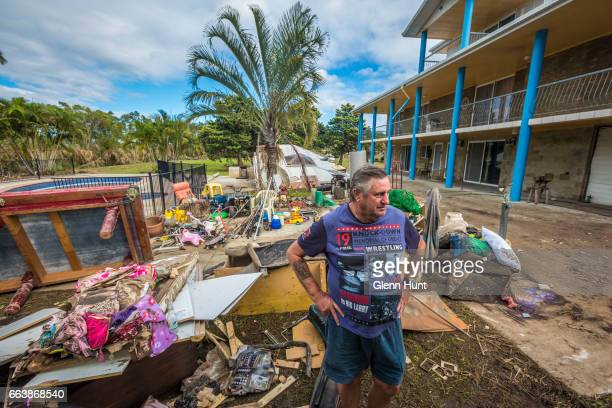 Volunteer Alan Dear helps clean up a property at Eagleby that was damaged by flood water on April 3 2017 in Eagleby Australia Heavy rain caused flash...