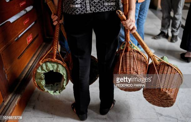 A volunteer collects the tithe during a mass at La Coromoto Church in Caracas on August 12 2018 The shortage of cash in the country has forced...