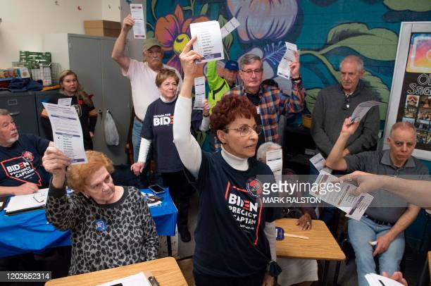 A volunteer counts votes during the Nevada caucuses to nominate a Democratic presidential candidate at the caucus polling station inside Coronado...