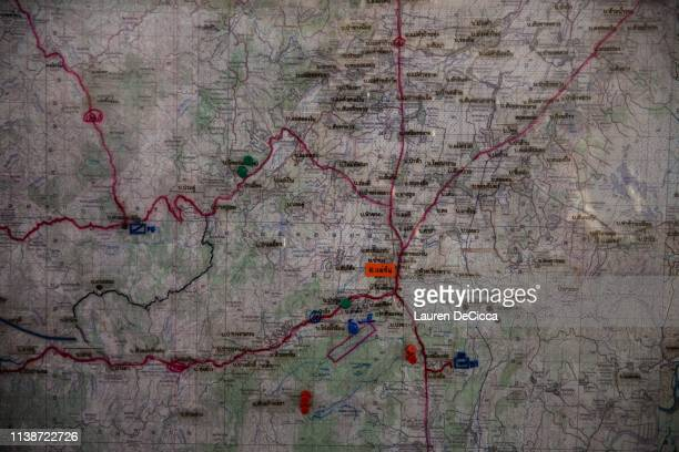 A volunteer fire fighting unit stationed at Wat Pa Teung pin points fire zones on April 19 2019 in Chiang Rai Thailand Thailand's Northern Provinces...
