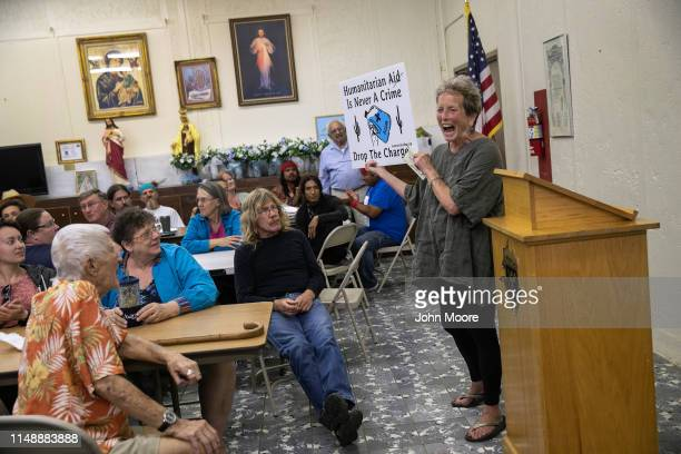 A volunteer for the humanitarian aid group Ajo Samaritans speaks during a community meeting on May 10 2019 in Ajo Arizona No More Deaths volunteer...