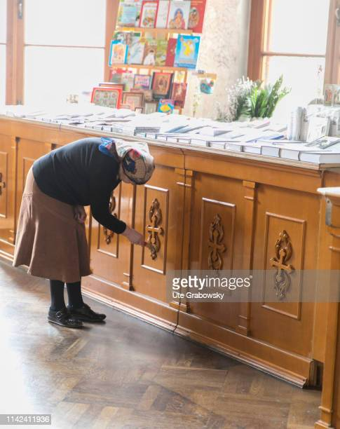 Volunteer forces clean up the church for the easter ceremony in the Skorbiaschenskaya church on April 23 2019 in Moscow Russia