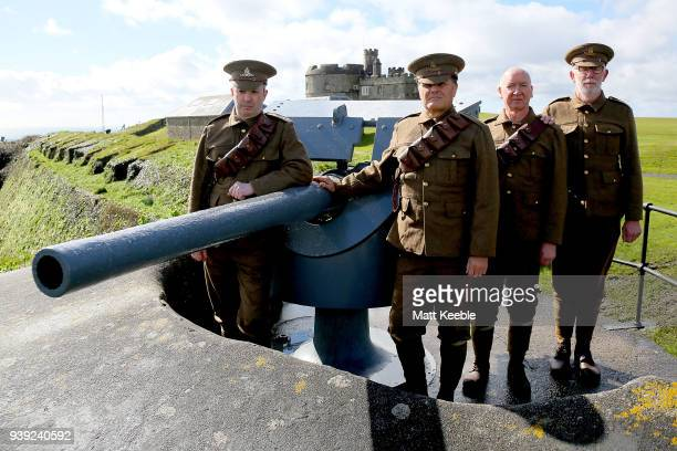 Volunteer gun crew Nathan Rusden Pete Wilson Alan Bell and Steve Tribe on March 28 2018 in Falmouth England English Heritage are warning that many of...