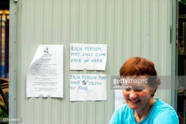 Volunteer Kerin Brown is seen at St Paul's Anglican Church in Burwood on March 24 2020 in Sydney Australia The Parish Pantry provides food for the...