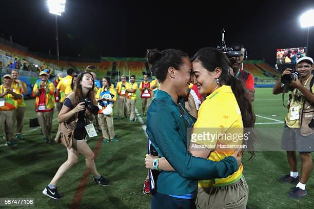 Volunteer Marjorie Enya and rugby player Isadora Cerullo of Brazil kiss after proposing marriage after the Women's Gold Medal Rugby Sevens match...