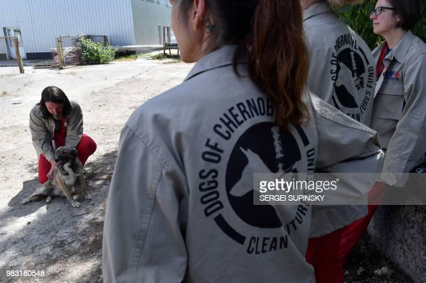 A volunteer of Clean Futures Fund strokes a stray dog outside the hospital just near the Chernobyl power plant on June 8 2018 The restricted zone...