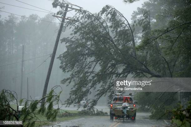 Volunteer rescue truck drives underneath a fallen tree that is suspended by power lines blown down by Hurricane Florence September 14, 2018 in New...