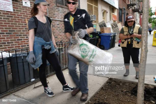 volunteer residents work on clean up and tree care in new york city - vanguardians stock pictures, royalty-free photos & images