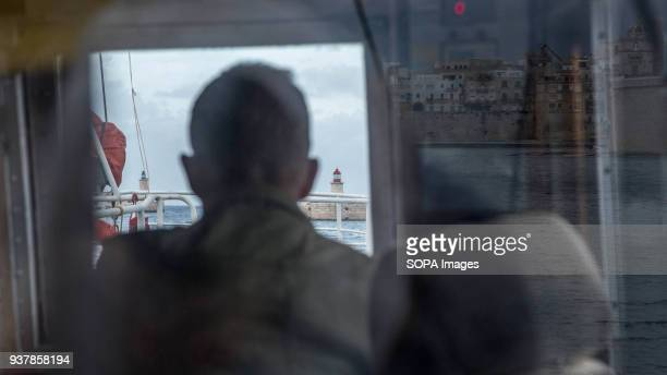 A volunteer seen checking equipment on the captain's bridge The German organization Sea Eye that have base in Malta is working to start the rescue...