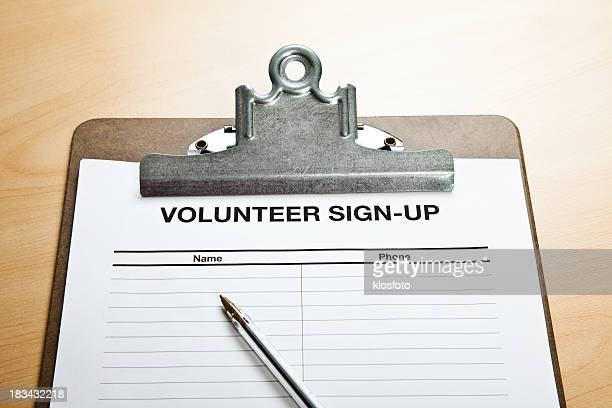 volunteer sign-up - petition stock photos and pictures