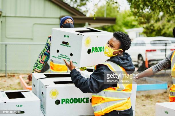 volunteer stacking csa boxes while working at community center - community stock pictures, royalty-free photos & images