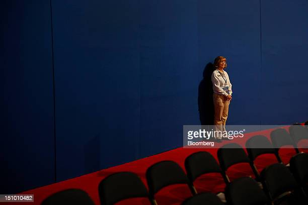 A volunteer stands at the Republican National Convention in Tampa Florida US on Thursday Aug 30 2012 Republican presidential nominee Mitt Romney a...