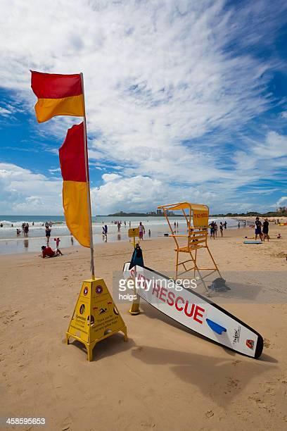 volunteer surf lifesaving patrol mooloolaba beach, queensland - mooloolaba stock pictures, royalty-free photos & images