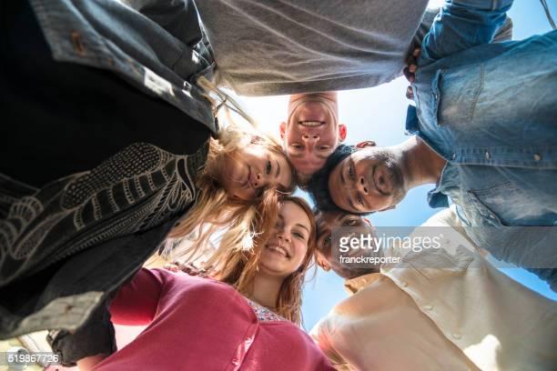 volunteer togetherness in circle