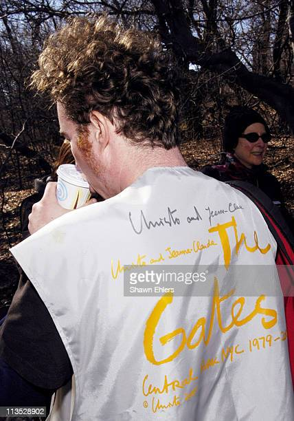 Volunteer with Christo and Jeanne Claude's signature on vest