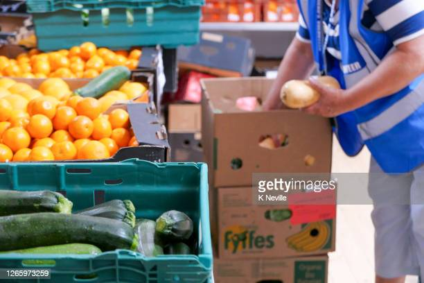 a volunteer worker carefully unpacking fresh vegetables in a food bank distribution centre - food bank stock pictures, royalty-free photos & images
