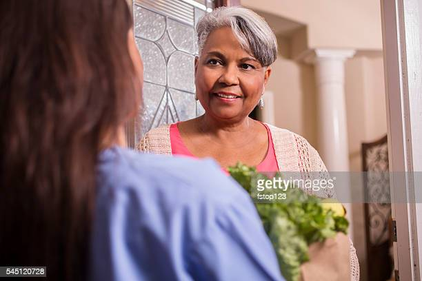 volunteerism: woman delivers groceries to senior adult woman at home. - meals on wheels stock pictures, royalty-free photos & images