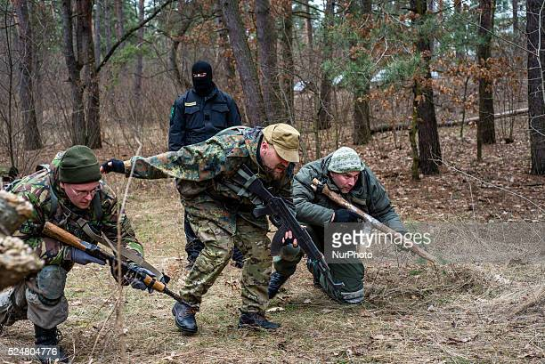 Volunteers and reserve soldiers are learning basics of military intelligence at training center 'Patriot' Kyiv Ukraine 15 of March 2015