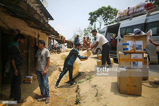 Volunteers are loading down the reliefs in Sindhupal Chowk Nepal May 7 2015