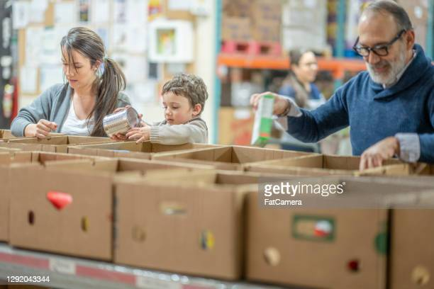 volunteers at a food bank - famine stock pictures, royalty-free photos & images