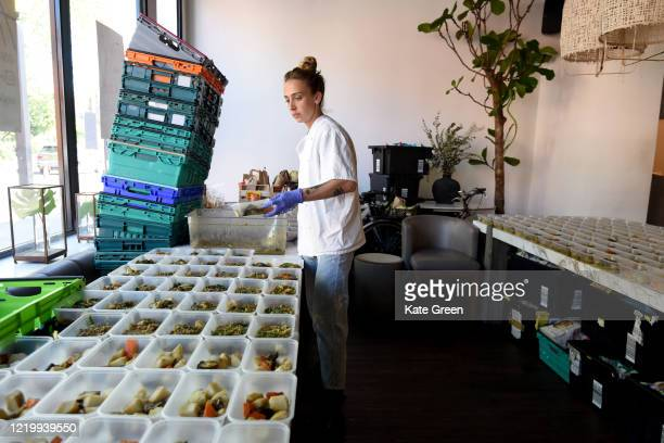 Volunteers at Angelina restaurant prepare food to feed Hackney's most vulnerable residents on April 20 2020 in London England 'Made In Hackney' are a...