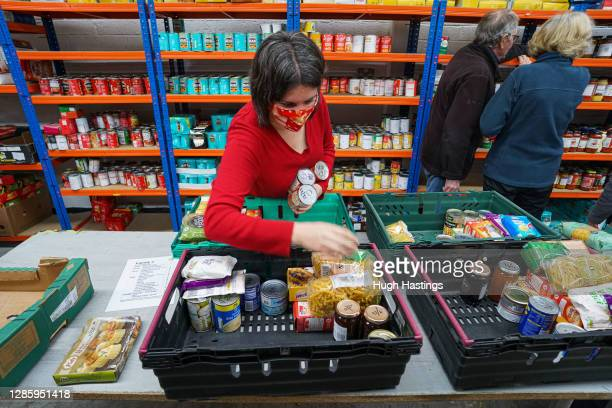 Volunteers at the Transformation Camborne, Pool and Redruth Foodbank Distribution Centre, at the food bank's storage depot on November 16, 2020 in...