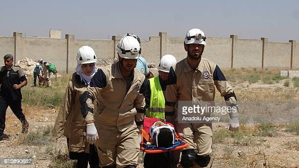 Volunteers attend a course to become a member of Syrian Civil Defense team in Idlib Syria on September 28 2016 Trainees attend training and courses...