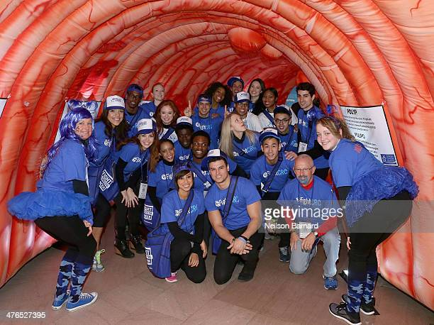 Volunteers attend One Million StrongColorectal Cancer Awareness at Grand Central Terminal on March 3 2014 in New York City