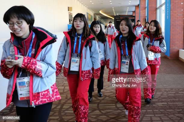 Volunteers check at the MPC ahead of PyeongChang 2018 Winter Olympic Games on January 27 2018 in Pyeongchanggun South Korea