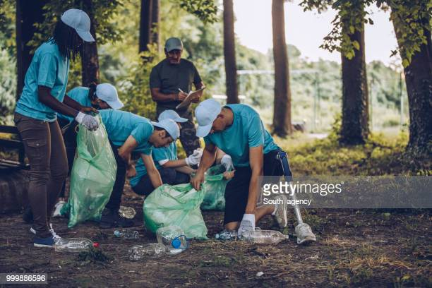 volunteers collecting garbage in park - environmental issues stock pictures, royalty-free photos & images