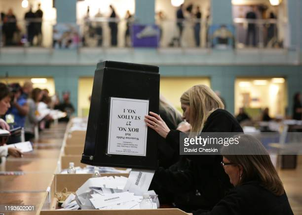 Volunteers count ballots from the UK general election in East Dunbartonshire December 12 2019 in Bearsden Scotland East Dunbartonshire is the seat...