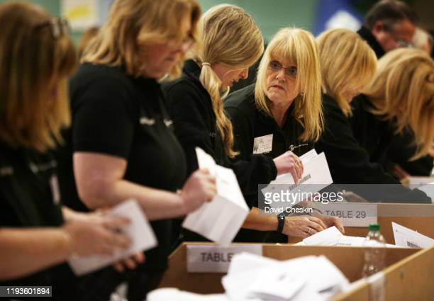 Volunteers count ballots from the UK general election in East Dunbartonshire on December 12 2019 in Bearsden Scotland East Dunbartonshire is the seat...