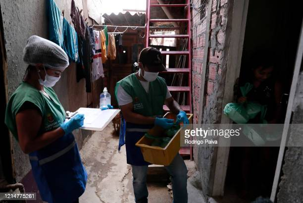 Volunteers delievery food to a resident in Paraisopolis favela on March 24 2020 in Sao Paulo Brazil Paraisopolis is the second largest favela in the...