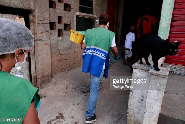 Volunteers delievery food to donate to residents in Paraisopolis favela on March 24 2020 in Sao Paulo Brazil Paraisopolis is the second largest...