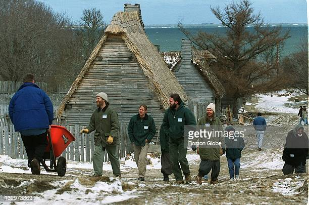 Volunteers descend on the village at Plimoth Plantation to scrub it clean and tidy it up for the upcoming season