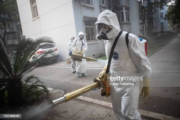 WUHAN CHINA FEBRUARY 23 2020 Volunteers disinfect communities for free Wuhan City Hubei China February 23 2020 PHOTOGRAPH BY Costfoto / Barcroft...