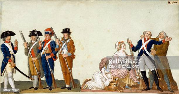 Volunteers doing drills during the French Revolution gouache by JeanBaptiste Lesueur France 18th century