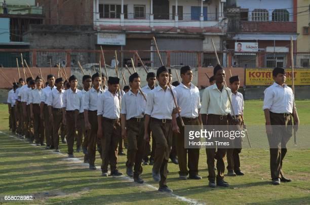 RSS volunteers during Pad Sanchalan at Beniyabag Ground on March 26 2017 in Varanasi India
