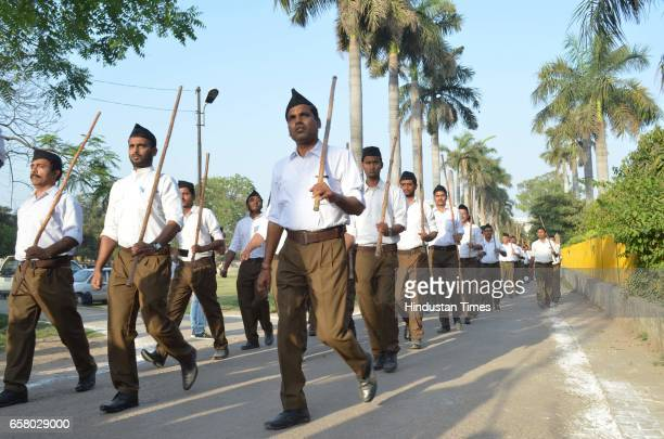 Volunteers during Pad Sanchalan at Beniyabag Road on March 26 2017 in Varanasi India