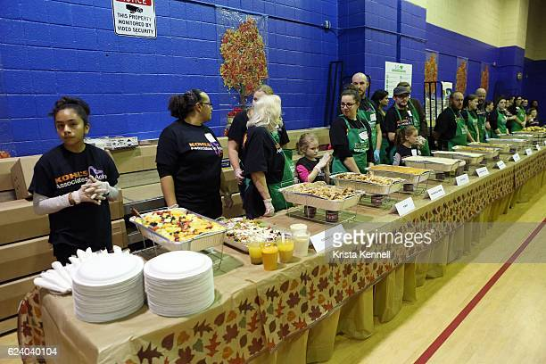 Volunteers during the Jean Shafiroff Jay Moorhead Underwrite Annual Community Thanksgiving Dinner at NYC Mission Society at Minisink Townhouse on...